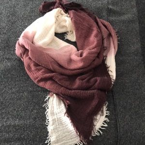 Ombré Maroon and Cream Distressed Scarf